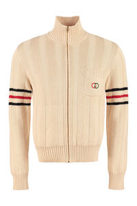 Cotton full-zip sweater, Knitted zip throughs Gucci man