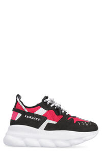 Chain Reaction suede and techno fabric sneakers, Low Top sneakers Versace woman