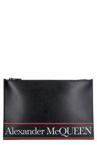 Logo detail flat leather pouch, Poches Alexander McQueen man