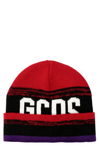 "Ribbed knit beanie, ""This year, your holiday season will be truly phenomenal "" GCDS woman"