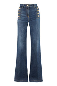 Flared stretch cotton jeans, Wide Leg Jeans Elisabetta Franchi woman