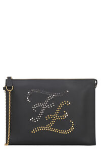 Flat leather pouch with logo, Poches Fendi man