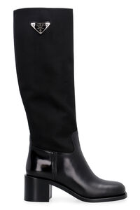 Leather and fabric boots, Knee-high Boots Prada woman