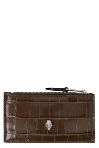 Crocodile printed leather card holder, Wallets Alexander McQueen woman