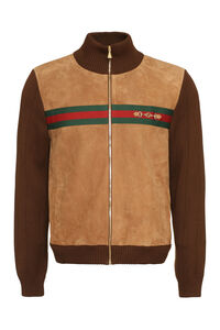 Suede bomber jacket, Leather jackets Gucci man