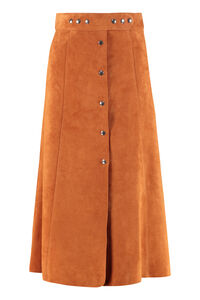 Flared skirt with buttons, Leather skirts Prada woman