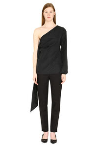 Techno satin one-shoulder blouse, Blouses N°21 woman