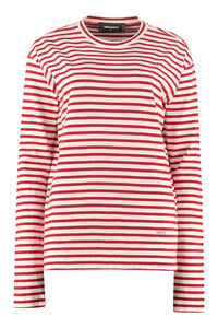 Striped cotton-linen T-shirt, Long sleeved Dsquared2 woman