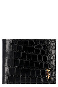 Printed leather wallet, Wallets Saint Laurent man