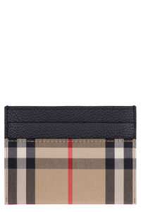 Leather and checked fabric card holder, Wallets Burberry woman