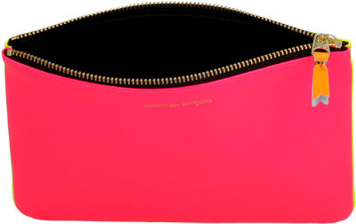 Fluo leather flat pouch