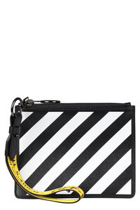 Logo detail flat leather pouch, Clutch Off-White woman