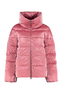 Iridescent effect nylon down jacket, Down Jackets add woman