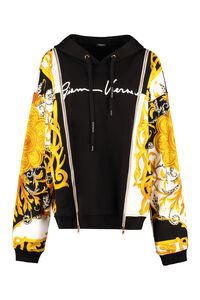 Printed cotton hoodie, Hoodies Versace woman