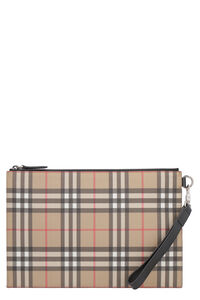 Printed leather flat pouch, Poches Burberry man