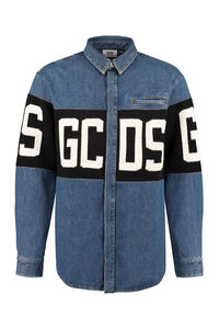 Logo detail denim shirt, Denim Shirts GCDS man