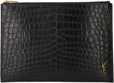 Printed leather flat pouch