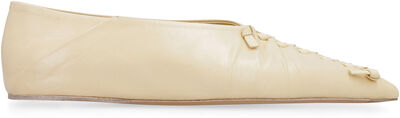 Leather pointy-toe ballet flats
