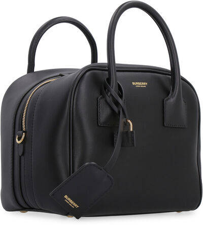 Cube leather boston bag