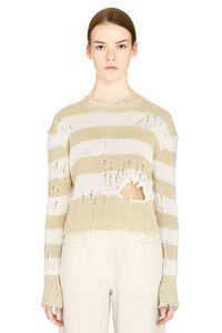 Striped distressed sweater, Crew neck sweaters Unravel Project woman