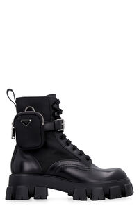 Monolith leather and Re-nylon boots, Lace-up boots Prada man