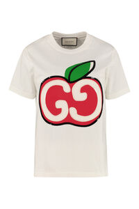 Printed short sleeve cotton T-shirt, T-shirts Gucci woman