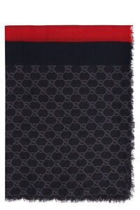 Wool scarf with all-over logo, Scarves Gucci man