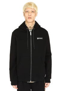 Cotton full zip hoodie, Zip through Burberry man