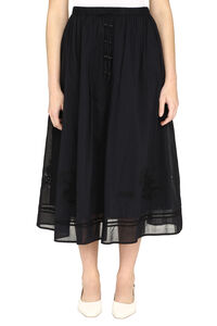 Cotton skirt with micro embroideries, Maxi skirts Tory Burch woman