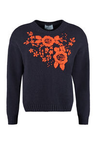 Virgin wool and cashmere pullover, Crew neck sweaters Prada woman