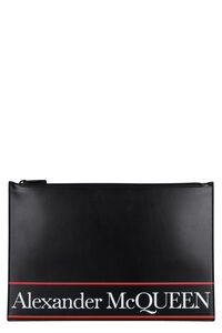 Logo print flat leather pouch, Poches Alexander McQueen man