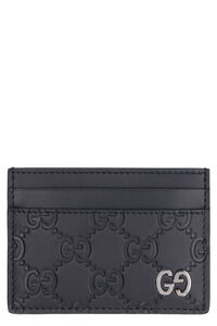 GG print leather card holder, Wallets Gucci man