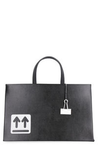 Box leather bag, Top handle Off-White woman