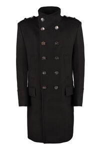 Wool blend double-breasted coat, Overcoats Balmain man