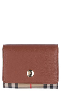 Leather and check fabric wallet, Wallets Burberry woman