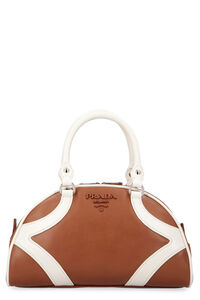 Bowling leather handbag, Top handle Prada woman