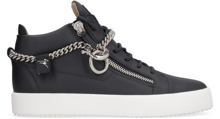 High-top leather sneakers with chain detail, High Top Sneakers Giuseppe Zanotti man