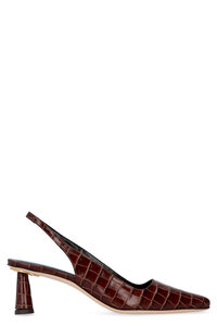 Slingback Diana in pelle stampa cocco, Tacco medio by FAR woman