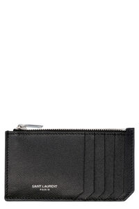 Pebbled leather card holder, Wallets Saint Laurent man