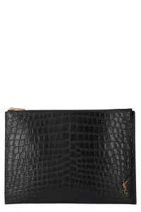Printed leather flat pouch, Poches Saint Laurent man
