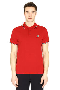 Logo embroidery cotton-piqué polo shirt, Short sleeve polo shirts Moncler man