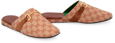 Leather and GG supreme fabric slippers
