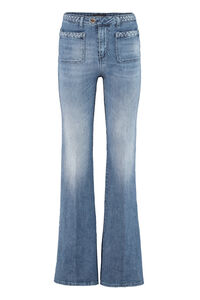 Flower boot-cut jeans, Flared Jeans Pinko woman