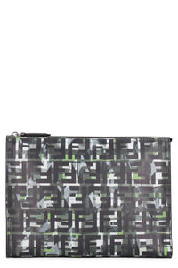 Printed calf leather pouch, Poches Fendi man