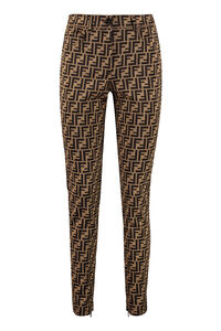 Logo jacquard trousers, Skinny leg pants Fendi woman