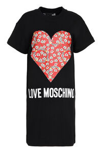 Printed cotton sweatdress, Mini dresses Love Moschino woman