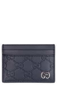 GG printed leather card holder, Wallets Gucci man