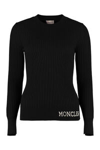 Ribbed virgin-wool sweater, Crew neck sweaters Moncler woman
