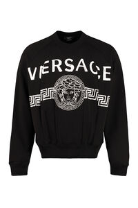 Logo detail cotton sweatshirt, Sweatshirts Versace man