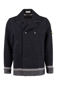 Wool blend double-breasted coat, Peacoats Stone Island man